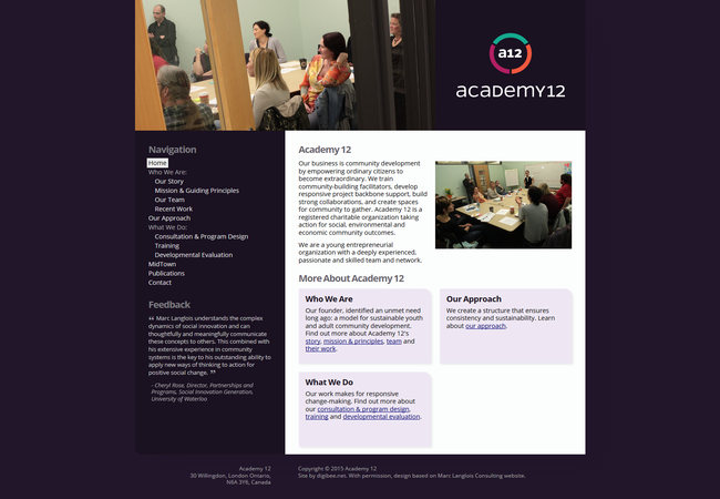 Academy 12 website displayed on an LCD monitor