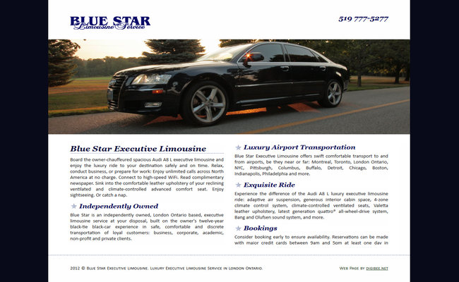 Blue Star Executive Limousine website displayed on an LCD monitor