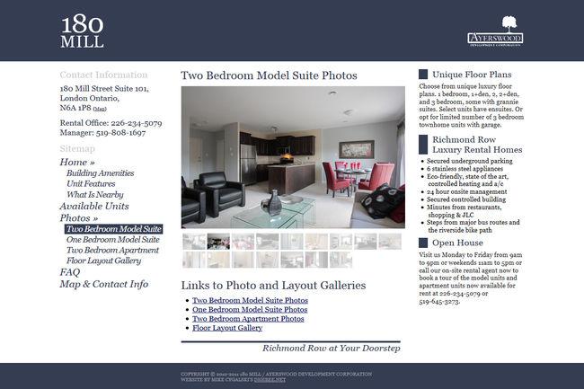 apartment website design. 180 Mill Apartment Website Design