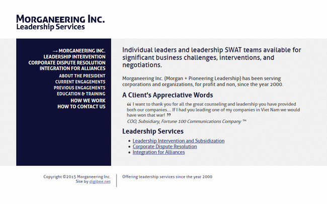 Morganeering Inc. Leadership Services website screenshot