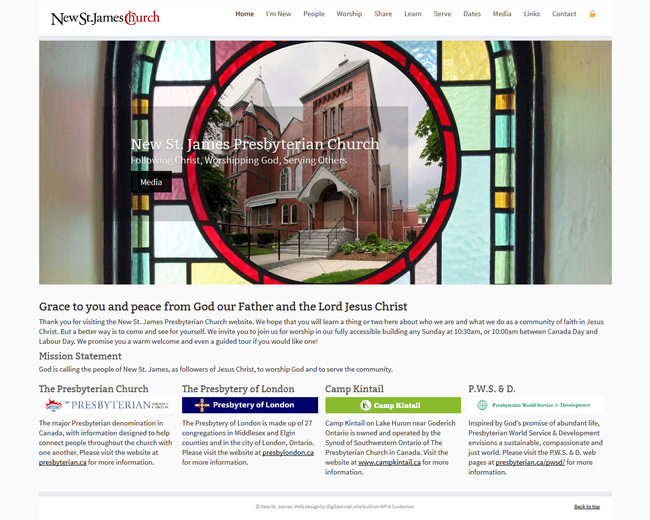 New St. James church website displayed on an LCD monitor