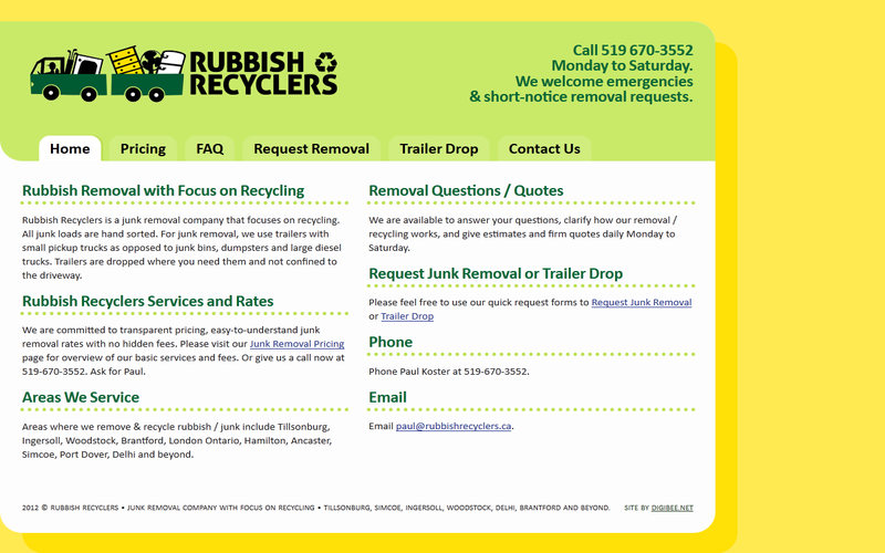 Rubbish Recyclers website and logo screenshot